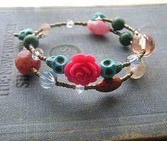 Day of the Dead bracelet wrap around memory wire by shabbyskull, $12.00