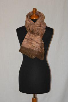 szal ręcznie filcowany beż,  brąz,  filc, felt,   w hand made by justka na DaWanda.com