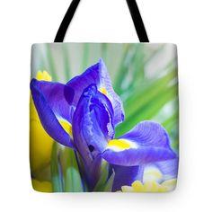 Spring Iris Tote Bag by Yana Reint #YanaReint #YanaReintFineArtPhotography #FineArt #ToteBag#homedecor #Bag #Iris #springiris #flowers