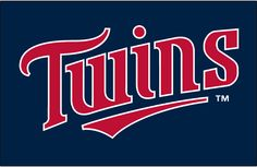 Minnesota Twins Jersey Logo (1998) - Twins in red with a white outline on navy, worn on Minnesota Twins home alternate jersey from 1998 through 2009