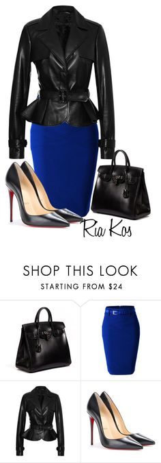 """""""beautiul outfit"""" by ria-kos ❤ liked on Polyvore featuring Hermès, LE3NO, Elie Saab and Christian Louboutin"""