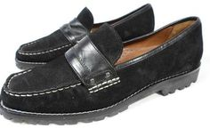 COLE HAAN Women's Shoes Penny LOAFERS Slip Ons Black Suede 7 B