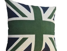 Your place to buy and sell all things handmade Teal Throw Pillows, Green Pillows, Decorative Pillow Cases, Decorative Cushions, Union Jack Pillow, Jack Green, Green Paintings, Navy And Green, Navy Blue