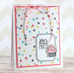 Handmade birthday card by Amy Kolling using the Small Packages stamp set and Cupcake Frame Die Set from Verve.  #vervestamps