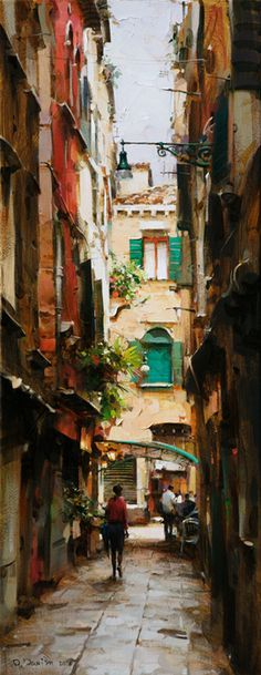"""""""Narrow Street"""" by Dmitri Danish Country Paintings, Great Paintings, Beautiful Paintings, Watercolor Artists, Watercolor Landscape, Traditional Paintings, Urban Landscape, Pictures To Paint, Art Plastique"""