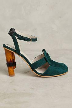 Slide View: 2: Jil Sander Navy Tapered Loafer Heels