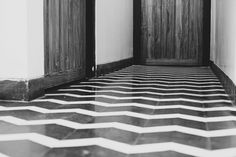 Abode Bombay - Boutique Hotel - Mumbai India - by Sian Pascale for Young Citizens - black and white cement tile flooring zigzag heritage Bharat tiles Cafe Gratitude, Tile Flooring, Floors, Contemporary, Modern, Tiles, Boutique, Black And White, Cement
