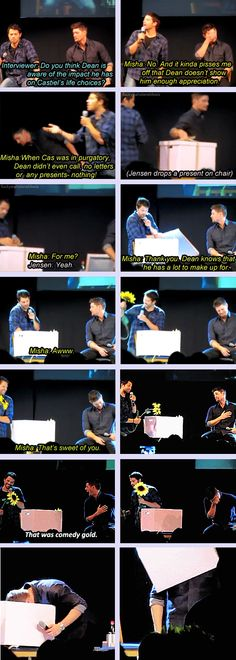 And with that, Misha is distracted...thus ends the rant and crisis averted...Good move, Jensen, good move.