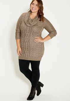 Plus Size Sweater Dress with Black Leggings