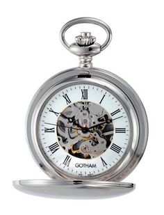 """Gotham Men's Silver-Tone 17 Jewel Mechanical Double Cover Pocket Watch # GWC14050S Gotham. $79.95. Classic and elegant silver-tone 17 jewel mechanical polished finish double cover exhibition pocket watch perfect for engraving. Includes matching 15"""" curb pocket watch chain with spring ring attachment. Antique style black hour, minute and seconds hands plus scratch resistant mineral crystal. Both front and back covers open to expose elegant 17 jewel mechanical movement ..."""
