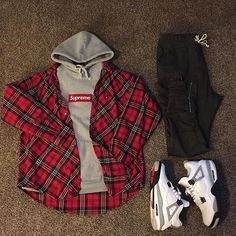 Outfit grid - Tartan cut on the bias Swag Outfits Men, Flannel Outfits, Tomboy Outfits, Dope Outfits, Trendy Outfits, Fashion Outfits, Sport Outfits, Dope Fashion, Tomboy Fashion