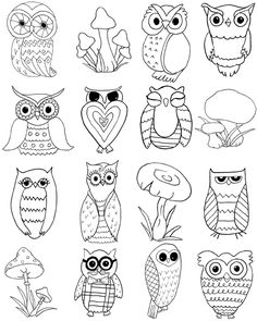 Free Owls and Mushrooms Coloring Page! - The Graphics Fairy