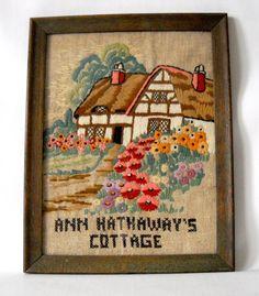 Vintage crewel art of Ann Hathaway's Cottage by MonarkVintage Country Cottages, Unique Vintage, Wooden Frames, Burlap, Ann, Cute, Etsy, Wood Frames, Hessian Fabric
