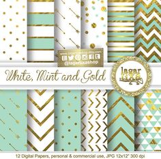 Gold Mint Pale turquoise Teal Digital Paper Background Chevron Polkadots hearts lace Quatrefoil Scrapbooking Blog invitations cards