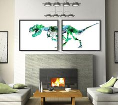 Green Dinosaur Art Print Watercolor Trex Bones Watercolor Dino Painting Print - Set of 2 Prints - 426 | @giftryapp