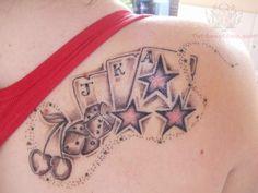 Card Tattoo Designs And Meanings; Card Tattoo Variations And Ideas-Playing Card Tattoos, Designs, And Pictures Playing Card Tattoos, Playing Cards, Dice Tattoo, Poker Tattoo, Design Facebook, Cherry Tattoos, Gambling Machines, Gambling Quotes, Gambling Tattoos