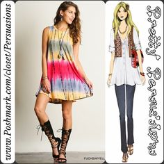 "NWT Tie Dyed Boho Festival Sleeveless Shift Dress NWT Tie Dyed Boho Sleeveless Shift Tank Dress  Available in sizes: S, M, L Measurements taken from a size small  Length: 35.5"" Bust: 38"" Waist: 46"" Hips: 56""  Features  • rounded neckline  • hues of fuchsia, yellow, gray-blue's & greens • soft, breathable material • relaxed, easy fit • sleeveless   Rayon/Spandex  Bundle discounts available  No pp or trades  Item # 1o1-5•10-044 Pretty Persuasions Dresses"