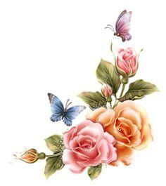 Flower Png Images, Skull Girl Tattoo, Pink Rose Tattoos, Floral Tattoo Design, Victorian Flowers, Decoupage Vintage, Arte Floral, Botanical Illustration, Plant Decor