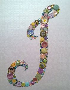 Custom Made Button Art Button Monogram Made With Buttons & Swarovski Crystals