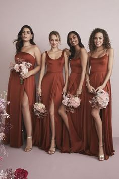 Coordinating your wedding party is a snap at David's Bridal. Our new mix-and-match dresses are designed to go together and flatter every friend. You choose the color and silhouette, then your maids pick their neckline. Davids Bridal Bridesmaid Dresses, Bridesmaid Dress Colors, Wedding Bridesmaids, Pregnant Bridesmaid Dresses, Bronze Bridesmaid Dresses, Bridesmaid Dresses Australia, Burnt Orange Bridesmaid Dresses, Flattering Bridesmaid Dresses, Burnt Orange Weddings