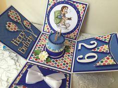 Tarjeta hecha a mano feliz cumpleaños explosión caja de