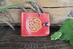Handmade Leather Wallet Celtic/ Red Unisex handstitched wallet handmade Handmade Leather Wallet, Celtic Designs, Tan Leather, Hand Stitching, Belts, Coin Purse, Carving, Unisex, Red