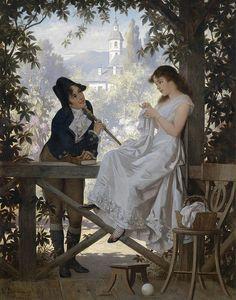 Das Stelldichein (The Rendezvous) Carl Schweninger, 1903 German Art, Oil on Canvas Romantic Paintings, Beautiful Paintings, Victorian Paintings, Art Ancien, Classical Art, Western Art, Art History, Art Gallery, Portraits