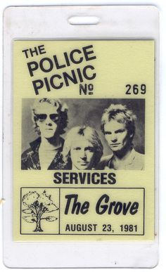 The Police Picnic 1981 Oakville The Grove Backstage Services Pass Sting Iggy Pop From The Mighty Finwah Collection Safely Stored For Over 37 Years This Will be a great Gift for Yourself Or any Fan Shipping will be within 2 days of your paym. Iggy Pop, Backstage, Police, Picnic, Great Gifts, Fans, Collection, Picnics, Law Enforcement