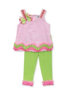 Rare Editions  2-Piece Eyelet Ruffle Tank and Legging Set Toddler Girl