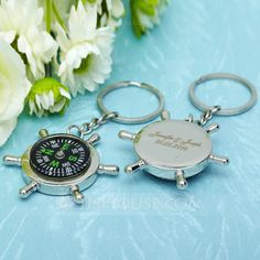 Personalized Favors - $14.19 - Personalized Compass Stainless Steel Keychains With Compass (Set of 6) (118030190) http://jjshouse.com/Personalized-Compass-Stainless-Steel-Keychains-With-Compass-Set-Of-6-118030190-g30190