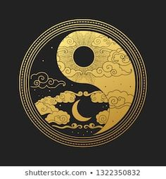 Decorative graphic design element in oriental style. Vector hand drawn illustration - Stock Photo and Image Portfolio by Peratek Arte Yin Yang, Yin Yang Art, Oriental Fashion, Oriental Style, Oriental Design, Yin Yang Tattoos, Art Asiatique, Moon Art, Grafik Design