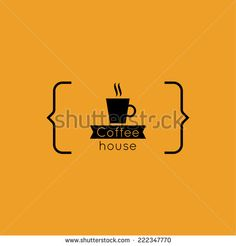 Abstract background with a cup of coffee from a white ribbon and text Coffee house and bracket. orange. for menu, restaurant, cafe, bar, coffeehouse. logo