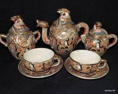Japanese Porcelain Meiji Satsuma Figural Immortal Dragon 1850 1899 Tea Service   eBay