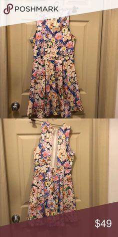 23e75cc4eb2a Floral print tank top dress with partial mesh back Floral print tank top  dress with partial