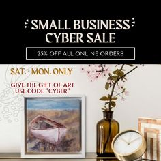 Well, a small business like mine should have a Small Business Sale, right? So I've decided to offer 25% off everything in my shop - Saturday thru Monday! This is my last planned sale of the year and all art should arrive before Christmas. . This collection of small art pieces were carefully selected for holiday gift-giving. All are under $150 and you can take advantage of this 25% off savings. Also, a few ornaments are still available. . Use code CYBER at checkout. . #cybersale #shopsmall Georgia Usa, Small Art, Before Christmas, Abstract Landscape, Art For Sale, Cyber, I Shop, Original Paintings, Art Pieces