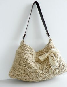 bags New Neutral - Ecru-Cream Knit Bag, Handbag - Shoulder Bag, Leather Strap Knitted Bags, Knit Bag, Crochet Purses, Clutch, Handmade Bags, Knitting Projects, Knitting Patterns, Purse Patterns, Sewing Patterns