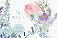 Soft Blue palette Watercolor clipart by LABFcreations on Creative Market