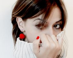 Round Red Felted Earrings Fall fashion Felted by VladaHomJewelry, $30.00