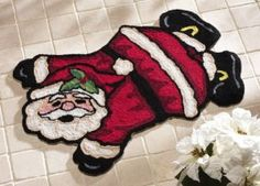 Fun Christmas - Jolly Santa Claus Christmas Holiday Accent Rug http://bestnewweboffers.com #Christmas, #Gifts, #Decorations