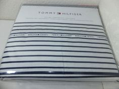 NEW-Tommy-Hilfiger-FULL-or-QUEEN-Sheet-Set-White-Blue-Signature-Striped