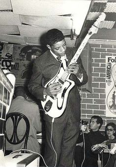 """Hubert Charles Sumlin was a Chicago blues guitarist and singer, best known for his """"wrenched, shattering bursts of notes, sudden cliff-hanger silences and daring rhythmic suspensions"""" as a member of Howlin' Wolf's band."""