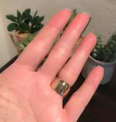 For Sale on - Simple and stylish, this lovely yellow gold wide ring is so beautiful to wear either on its own or with some slender diamond bands either side. Gold Band Ring, Wide Band Rings, Wide Wedding Bands, Diamond Bands, Class Ring, Rings For Men, Jewels, Yellow, Stylish