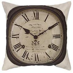 Buy John Lewis Clock Cushion, Black / White online at JohnLewis.com - John Lewis £30