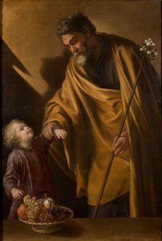 """He was a righteous man."" Matthew 1:19 // Saint Joseph with the Christ Child / San José con el Niño // Ca. 1650 // Sebastián Martínez // #ChildJesus #StJoseph #fatherhood"