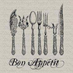 Bon Appetit French Words Silverware Fork Spoon by DigitalThings, $1.00