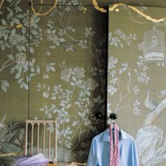 chinoiserie wallpaper (Fabric or Paper) on headboard in master bedroom
