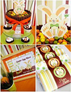 Easter Bunny Orange Party Printables Supplies | BirdsParty.com