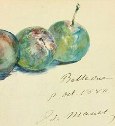Edouard Manet Letter, Three Plums,  1880