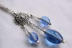 Silver Pendant Long Necklace with Blue Glass Beads by ChillBunny