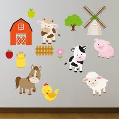 Farm Animals Cow Nursery Childrens Baby Full Colour Wall Art Sticker, SSC14